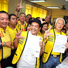 MANILA. Reelectionist Manila City Mayor Alfredo Lim and his running mate actor and City Councillor Lou Veloso file Monday their certificates of candidacy before the Commission on Elections. (Michael Superales/Sunnex)