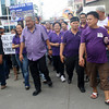 CAGAYAN DE ORO. Incumbent Mayor Vicente Emano and his team march toward the city Commission on Elections with their supporters to file their certificates of candidacy. (Joey P. Nacalaban)