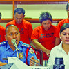 "DAVAO. ""Buak-kotse"" suspects Tristan Sumaoang, Melanie Aguirre, Joey Masayon, and Leonardo Valentin were presented to Mayor Sara Duterte-Carpio by DCPO Chief Ronald Dela Rosa after they were brought from General Santos City where they were arrested Monday evening. (King Rodriguez)"