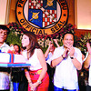 TIME FOR SOME CAKE. Cebu Governor Gwendolyn Garcia blows the candles on her birthday cake at the Capitol Social Hall. With her are (second from right) gubernatorial candidate Rep. Pablo John Garcia and his running mate, Ramon Durano IV. (Sun.Star Cebu/Amper Campana)