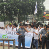 MANILA. Showing their support for former President Gloria Macapagal-Arroyo were members of the Karapatan Youth Movement, who wore white shirts. (Virgil Lopez)