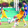 CEBU -- A University of San Carlos (USC) Warrior (2nd right) takes control of the ball against University of Cebu (UC) Webmasters in their Cesafi elimination round match at CCSC on Saturday. (Sun.Star Cebu/Arni Aclao)