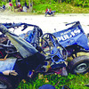 SAFETY FIRST. The provincial police is looking into possible causes of the accident that resulted in the death of two policemen and the driver in Dalaguete last Thursday. The police jeep-type vehicle used by the policemen fell off a ravine. (Sun.Star Photo/Alex Badayos)