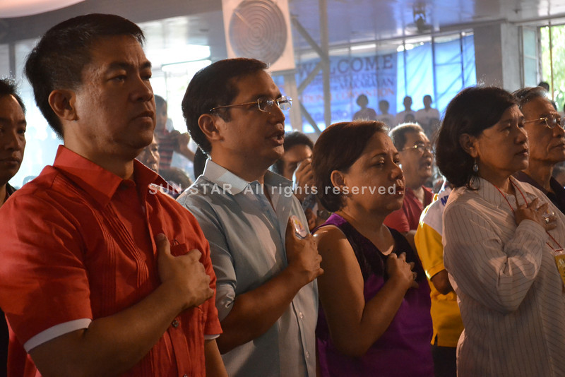MANILA. Senator Aquilino Pimentel III, former Representative Cynthia Villar, and Speaker Sonny Belmonte (not in photo) express support for Makabayan Coalition's lone senatorial candidate, Teddy Casiño. (Contributed photo)