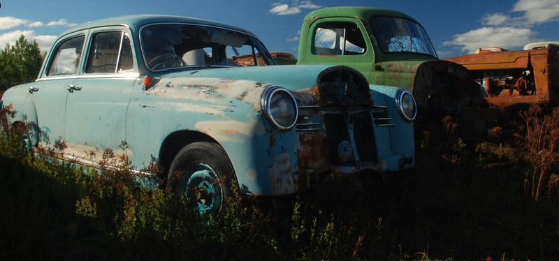 """Allan Ford_ Open_ """" Retired """"  A Grade.<br />  Great panorama with perfect lighting. These old vehicles and work horses have been put out to pasture and this will be their last resting place. Acceptance"""