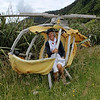 Chopper Down<br /> An interesting helicopter but I get the feeling that this is a posed shot from a holiday rather than an action shot. Your compostition and exposure has been well handled nonetheless, although I'd have stepped to the right a little to avoid that light coloured tree trunk on the right in the background.<br /> Not Accepted  066 Novice