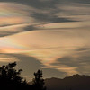 Cirrus Stratus with Ice Crystals  -  Jacqie Scott<br /> <br /> This is a fascinating phenomenon which I have never seen before.<br /> The author has cleanly and clearly captured the unusual rainbow-like glow of the clouds. <br /> Additionally, the entire cloud formation has been included within the shot providing the viewer with good information about overall shape and appearance.<br /> The inclusion of the foreground trees and mountain range at the bottom of the frame help to ground the image and serendipitously, a little wisp of cloud touching the top of the mountains helps to link the sky and land beneath. Accepted