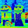 Family fun with hay bales 	Esme Pohatu B grade<br /> This is a fun shot created on the computer, I don't think this is an abstract as the image clearly contains a set of representational cartoon figures created from hay bales.You have certainly used form and colour to achieve an effect but by adding the faces I think you have destroyed what could have been a good abstract using the hay bales. 	ACC