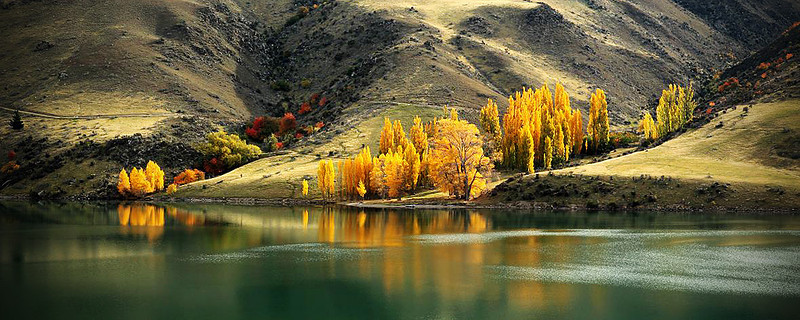 Dunstan Autumn Colours  -  Thierry Huet<br /> What a beautiful shot. Great panorama format which selects just the part of the landscape you wanted to show I .love the way the Autumn trees lead you diagonally up the valley. The wind movement on the water adds interest here. The little group of trees on the LH side fills in this space.. A fabulous image depicting Autumn at its best  Honours A Grade