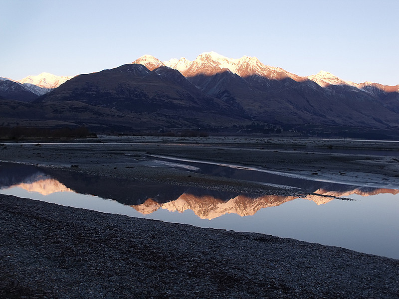 Glenorchy Twilight Brenda King Novice<br /> The sunlit mountain peaks are very eye-catching and without these the photo would not hold as much interest. The placement of the mountain peaks across the top third (or thereabouts) is nicely balanced by the similar placement of the shoreline across the lower portion of the image.  Accepted
