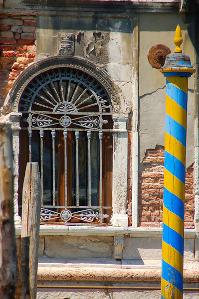 Window with Yellow/Blue Pole (Grand Canal)--Venice, Italy