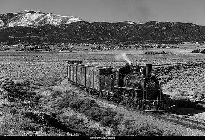 Nevada Northern Railway Locomotive #40 Rounds the Curve at Moser Cut