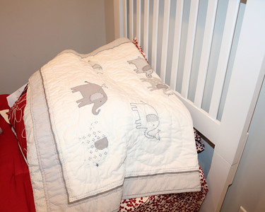 before the crib arrived - here is the cute blanket from pottery barn.  Love the elephant theme.