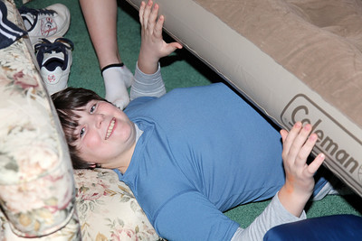 So did Jacob.  The girls trapped him under the air mattress.