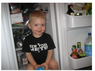 Couldn't copy this as a full size picture, but see what I mean about the family trait?  Cousin Patrick loved to sit in our refrigerator as well.