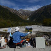 Painters enjoying the view at Kamikochi.