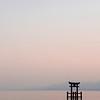 Torii floating on Lake Biwa at Sunset.