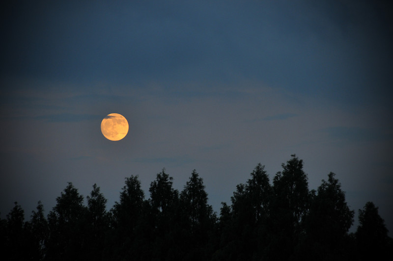 Moon lighting up the sky at Lake Biwa, Shiga.