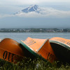 Boats on the beach of Lake Kawaguchi.