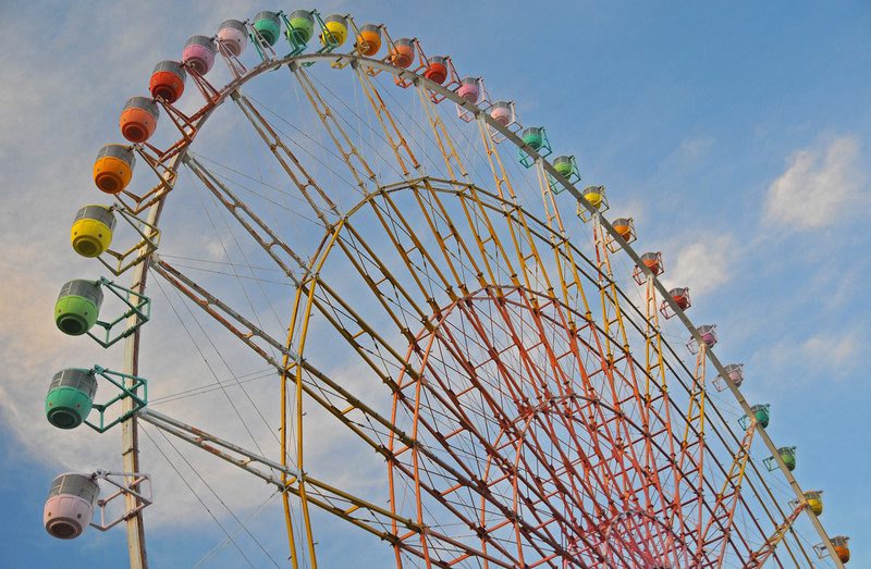 The colours of the ferris wheel in Katata, Shiga.