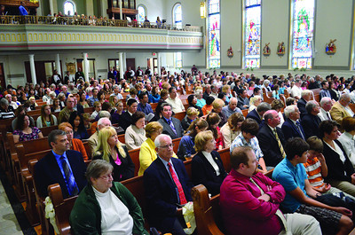 The congregation packs into St. Joseph Catholic Church in Danville on Sunday during the visit from Bishop Joseph P. McFadden of the Catholic Diocese of Harrisburg.