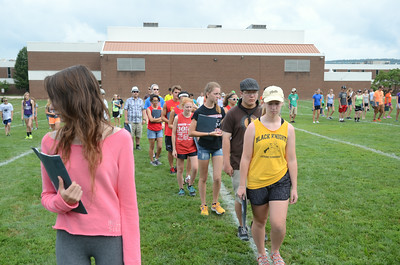 Members of the Danville High School marching band go through their steps during practice on Wednesday.