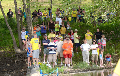 Dozens watch as 2,000 rubber ducks pass the finish line during the duck derby in Danville Saturday Aug. 11, 2012.