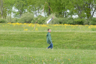 Danville school district student Ethan Bogutskie, 10, flies a kite on Monday at the PPL Montour Preserve as life skills and autistic students had a end of year picnic.