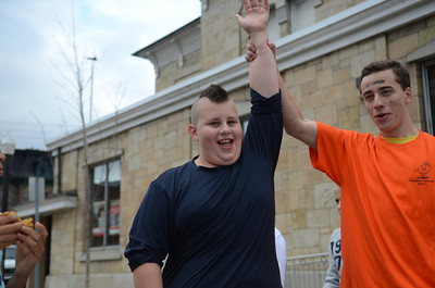 Londyn Wesman, 10 of Danville, wins the kids pie eating contest.