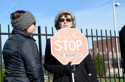 Danville Area School district teachers Jennifer Nardi, left, and Glenna Rearick, talk while on the picket line by the Danville Primary School on Thursday morning.