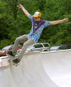 Ben Franklin Harmon of Milton completes a stunt during the free skate at Hess Fest in Danville Saturday June 9, 2012.