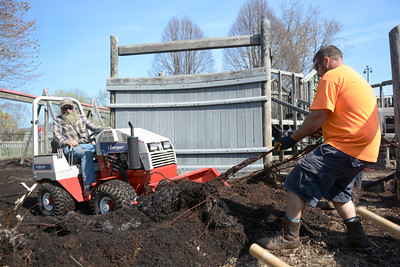 Jeff Wagner, left, Danville, and Jay Snyder, Danville, team up to remove a long root from the Kidsville playground on Sunday.