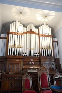 The organ at the Mahoning Presbyterian Church in Danville on Thursday.