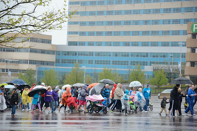 Hundreds of walkers turned out on a rainy Sunday morning to participate in the annual March of Dimes walk at Geisinger in Danville.