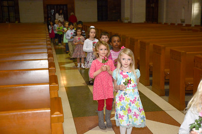 St. Cyril students line up for the May Crowning event on Tuesday morning in Danville.