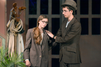 Emma Sharpe, left, is consoled by Alex Myers, during a rehearsal for Danville High School's production of Moose Murders on Monday.