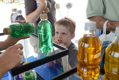 Grant Facktor, 6, of Danville checks out the labels on some household cleaning liquids that could be mistaken for drinks at the poison prevention booth during the Nature and Gargening Expo at the PPL Montour Preserve Saturday July 14, 2012.
