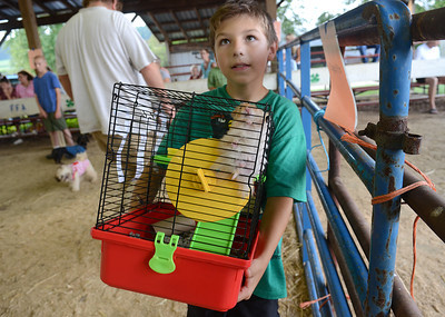 Jacob Oberdorf, 11, shows off Pip, his teddy bear hamster, to the judges before the start of the Pet and Toy Parade Wednesday Aug 15, 2012 at the Montour-Delong Fair in Washingtonville.