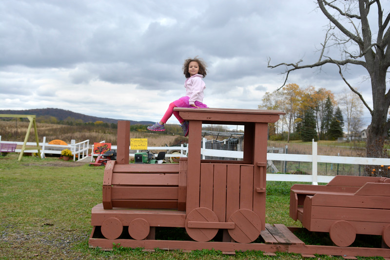 Danville kindergarten student Seyla Lapp sits on top of a train at Pumpkinville on Thursday as she and other students were rewarded for doing a good job on a school fundraiser.