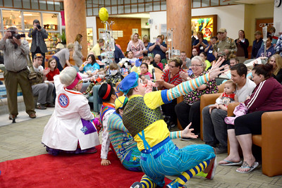 Members of the Ringling Brother's Circus performed for a crowd at the Janet Weis Children's Hospital in Danville on Thursday morning.