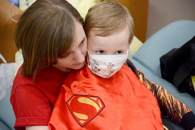 Christine Dalton, Mansfield, and her son Elijah, 5, watch the Ringling Brother's Circus on Thursday at the Janet Weis Children's Hospital in Danville.
