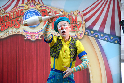 Nick Lambert performs with his troup, Clown Alley, of the Ringling Brother's Circus on Thursday at the Janet Weis Children's Hospital in Danville.