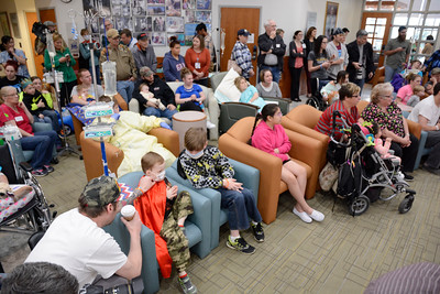 A large crowd gathered in the lobby of the Janet Weis Children's Hospital to watch the Ringling Brother's Circus perform on Thursday.