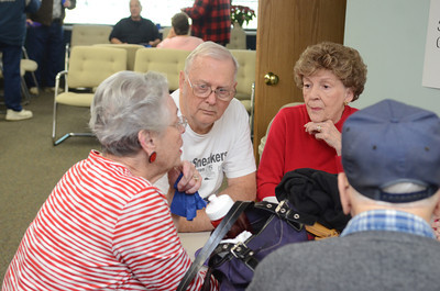 Linda Weckter, left,Mahoning Township, talks with Jim and Lois Kishbaugh of Mahoning Township, after taking part in the Silver Sneakers program at the Danville Area Community Center on Wednesday during the program's 10th anniversary celebration on Wednesday.