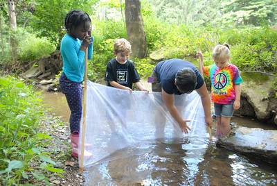 St. Cryil kindergarten students Sydney Clarke, left, Hunter Gurski, and Alexanbra Harmon, right, help Bloomsburg University student Hannah Davis set up a net to catch some native wild life in a creek during a nature lesson on Friday.