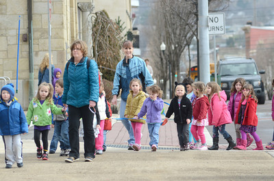 Students from Lutz Preschool make their way to The Week of the Young Child celebration at the Montour County Courthouse on Tuesday.