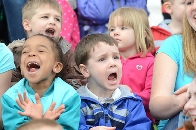 DCDC students Nevaeh Mullen, 5, left, and Gabriel Riegel,4, get their screams out on Tuesday at the Montour County Courthouse during the Week Of The Young Child Celebration.