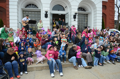 Children gathered on the steps of the Montour County Courthouse on Tuesday morning for a story and music to help celebrate The Week of the Young Child.