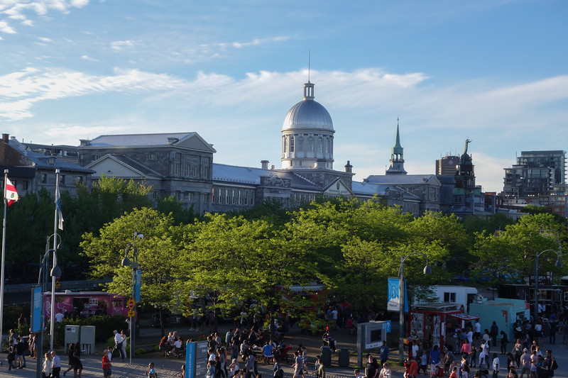 Evening in old montreal with the Bonsecours market in the background