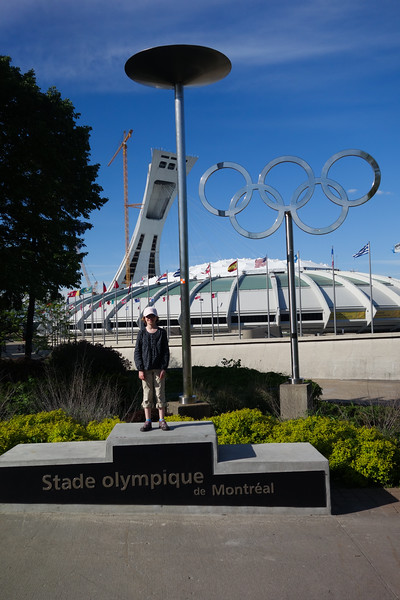 Out front of the olympic stadium